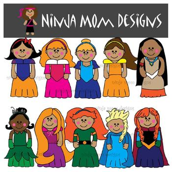 Princess Clip Art in Color and Black Line