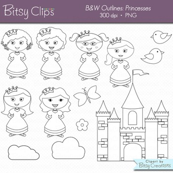 Princess Clipart Commercial Use Clip Art WITH Black and White Outlines