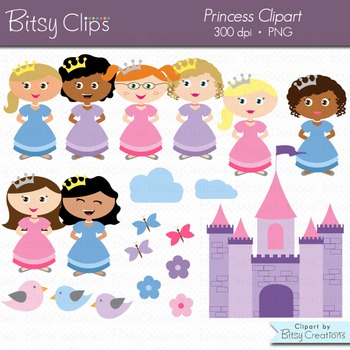 Princess Clipart Commercial Use Clip Art WITH Black and Wh
