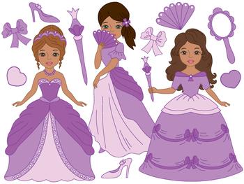 Princess Clipart - Digital Vector Princess, Girls, Fairy, Fairytale Clip Art