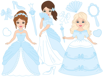 Princess Clipart - Digital Vector Princess, Girls, Fairy, Fairytale Clip Art