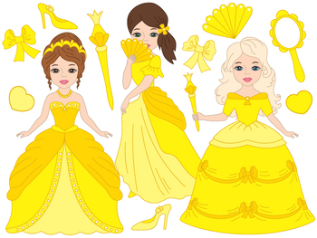 Princess Clipart - Digital Vector Princess, Girls, Fairy,