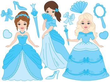 Princess Clipart - Digital Vector Princess, Girls, Fairy,
