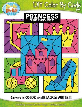 Princess Color By Code Clipart {Zip-A-Dee-Doo-Dah Designs}