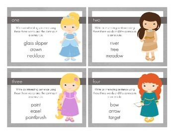 Disney Inspired Princess Commas in a Series Task Cards