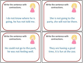 Princess Contraction Task Cards