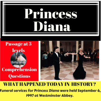 Princess Diana Differentiated Reading Passage, September 6