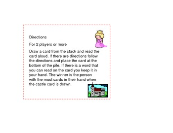 Princess Dolch Sight Word Game Primer