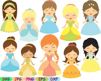 Princess Fairytale Clipart svg Sleeping Beauty snow white cute little PROPS -96s