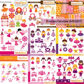 Princess Fairytale  clip art Mega Bundle (9 packs) digital clipart