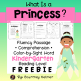 Princess Fluency Passage, Comprehension, Color-by-Sight Words Freebie