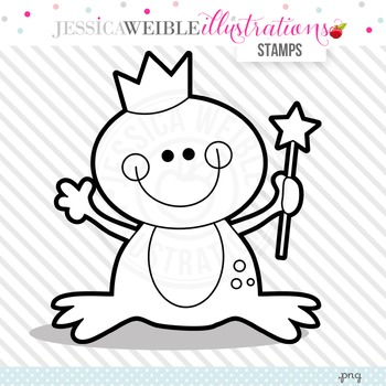 Princess Frog Cute Digital B&W Stamp, Cute Frog Line Art, Blackline