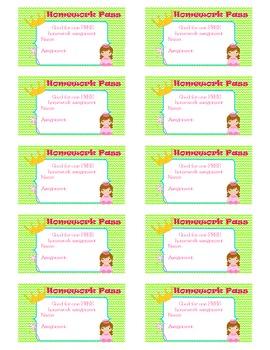 Princess Homework Passes