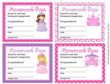 Princess Fairytale Homework Passes