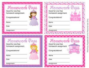 Princess Fairytale Homework Passes