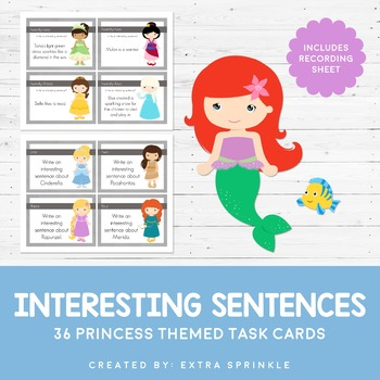 Disney Inspired Princess Interesting Sentences Task Cards