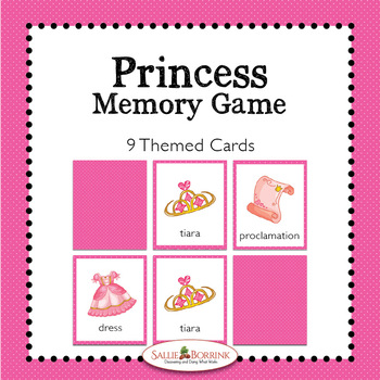 Princess Memory Game - Princess Theme Activity