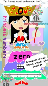 Princess Numbers in Words, Number Line and Tens Frame Match Up