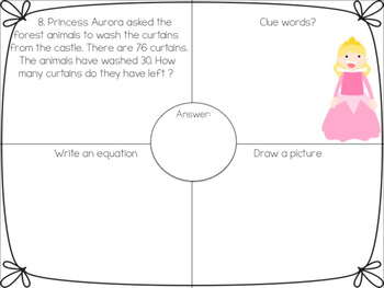 Princess One Step Word Problems within 100!