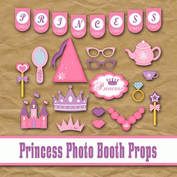 Princess Photo Booth Props and Decorations - Printable