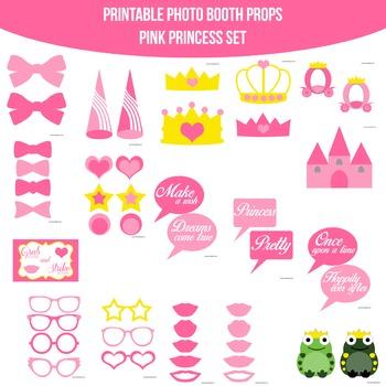 Princess Pink Printable Photo Booth Prop Set