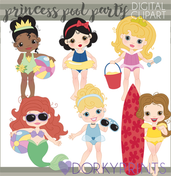 Princess Pool Party Clipart