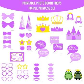 Princess Purple Printable Photo Booth Prop Set