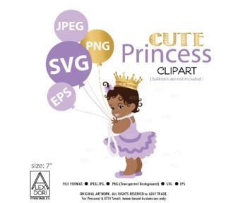 Princess SVG, African princess girl cutting file, vector, digital file