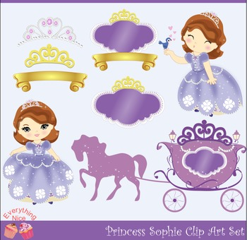 Princess Sophie Sofia the First Inspired Purple Royal Carriage Clipart Set