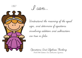 Princess Theme 1st grade math Common Core Posters first Grade Standards