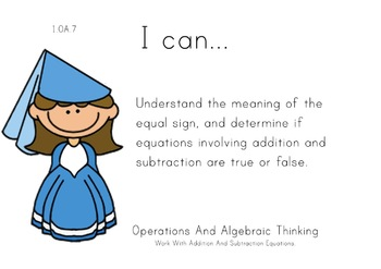 Princess Theme 1st grade math Common Core Posters first Gr