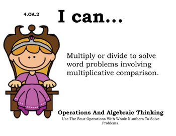 Princess Theme 4th grade math Common Core Posters fourth Grade Standards