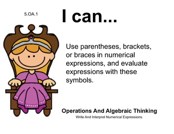 Princess Theme 5th grade math Common Core Posters Fifth Grade Standards