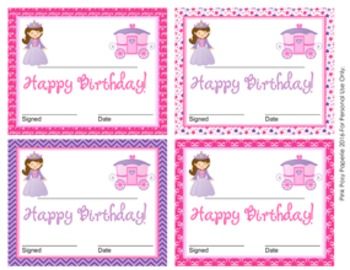 Princess Theme Birthday Certificates