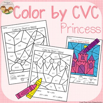Princess Themed Color by CVC Word