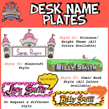 Princess Themed Custom Classroom Desk Name Tags