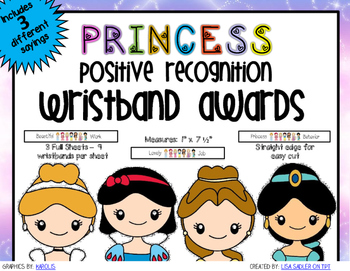Princess Themed Positive Recognition Award Wristbands