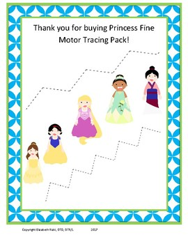 Princess Visual Motor and Fine Motor Tracing Pack ... OT Speech K 1 2 Special Ed