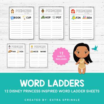 Disney Inspired Princess Word Ladder Sheets