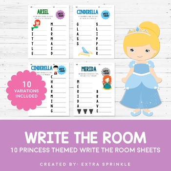 Disney Inspired Princess Write The Room Sheets - First Edition