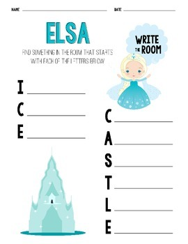 Disney Inspired Princess Write The Room Sheets - Second Edition