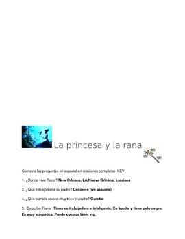 Princess and the Frog Movie Companion Spanish question sheet
