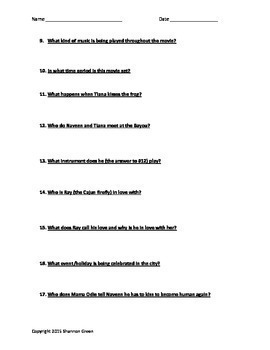 Princess and the Frog Movie Questions