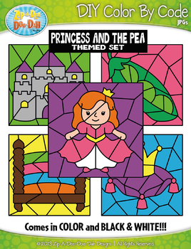 The Princess and the Pea Color By Code Clipart {Zip-A-Dee-Doo-Dah Designs}