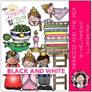 Princess and the Pea clip art - BLACK AND WHITE- by Melonheadz