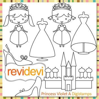 Princess, castle, dresses, shoes clip art (digital stamps, coloring) S059