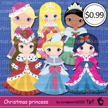 Princess christmas clipart,winter princess-Bundle