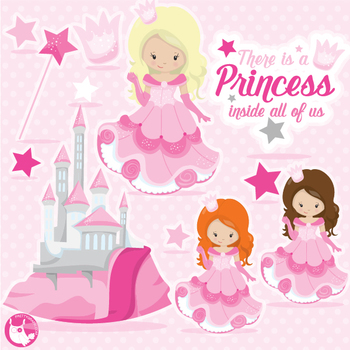 Princess clipart commercial use, vector graphics  - CL1068