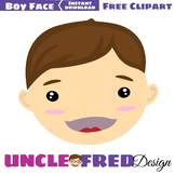 Boy Face clipart for scrapbooking, commercial use, digital