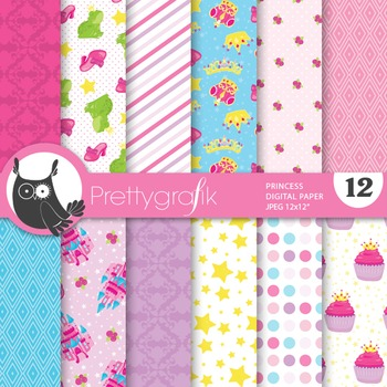 Princess digital paper, commercial use, scrapbook papers, fairytale - PS676